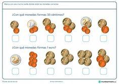 Ficha de calcular dinero para Primaria