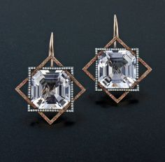 Morganite, Orange Sapphire, Diamond, Silver and 18K Rose Gold Ear Pendants by James de Givenchy #Taffin #JamesdeGivenchy #Earring