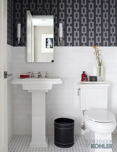 Tresham®. pedestal sink Tresham toilet Pinstripe®. faucet       Designed by S. Russell Groves, this Manhattan powder room blends architectural detailing and a palette of black and white for a look that's truly timeless.       See more Tresham.