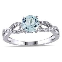 Miadora 10k White Gold Aquamarine and 1/10ct TDW Diamond Ring (G-H, I1-I2) - Overstock™ Shopping - Top Rated Miadora Gemstone Rings