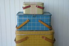 vintage metal picnic baskets