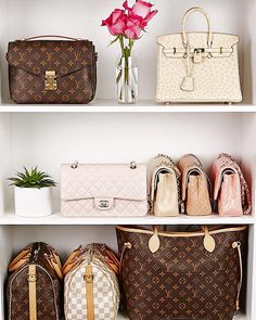 Celebrating 200K page likes on Facebook with this fabulous #shelfie! ❤ #chanel #louisvuitton #hermes #speedy #neverfull #metispochette #handbags #fashion #style #luxury #succulent #roses #designers #highend