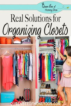 Anyone can make a closet look neat and tidy if they take of their belongings away! Get real solutions for organizing a closet at Queen Bee of Honey Dos! Small Space Organization, Workshop Organization, Home Organization Hacks, Organizing Your Home, Closet Organization, Storage Closets, Diy Storage, Storage Ideas, Diy Projects Home Improvement