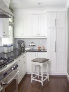 Cabinets to the ceiling and can lights, just what I want!