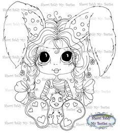 INSTANT DOWNLOAD Digital Digi Stamps Big Eye Big Head Dolls Messy Bessy IMG296 My Besties By Sherri Baldy