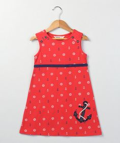 Look what I found on #zulily! Red Nautical Jersey Dress - Girls by Beebay #zulilyfinds