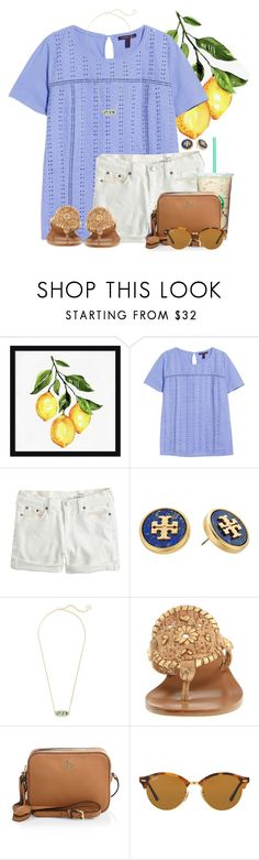 """""""Gilmore Girls or 13 Reasons Why??"""" by flroasburn ❤ liked on Polyvore featuring Pottery Barn, Violeta by Mango, J.Crew, Tory Burch, Kendra Scott, Jack Rogers and Ray-Ban"""