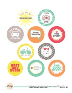 Chic Tags Freebie Printable - 1.75 inch Circles perfect for summer!