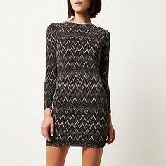 Black sparkly zig zag bodycon women's dress $90