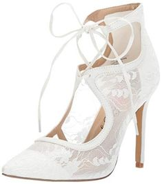 Penny Loves Kenny Women's Oppa Pump White lace Medium US - Little Shoe Boutique Shoe Boutique, White Pumps, S Star, Lace Fabric, Custom Clothes, Wedding Shoes, White Lace, Cool Style, Medium