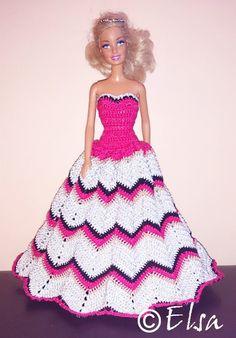 A beautiful crochet grown dress  for barbie doll