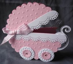 Pink Baby Carriage Cards, Card making Baby Girl Cards, New Baby Cards, Moldes Para Baby Shower, Baby Shower Invitaciones, Shaped Cards, Baby Shower Cards, Baby Scrapbook, Kids Cards, Creative Cards