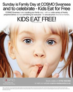 Cosmo Kids Eat for Free poster.