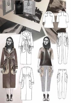 Fashion Sketchbook page - fashion design drawings; fashion student portfolio // Joanna Fisher