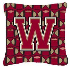Letter W Football Garnet and Gold Fabric Decorative Pillow CJ1078-WPW1414