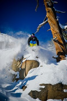 Squaw Valley athlete, Cody Townsend, doing a fun drop during the 2010-11 season