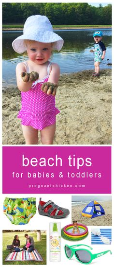 Tips for taking babies and toddlers to the beach, e.g., shade tents, kiddie pools, and snap-crotch swim clothing