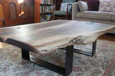 black walnut live edge coffee table,  www.livingwooddesign.com