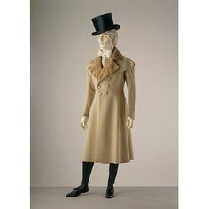 1820s Mens Frock Coat from the Victoria and Albert Museum.  A Paletot with capelet plus wide lapels and a fitted waist. Wow