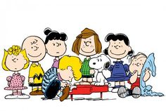 Sally, Charlie Brown, Violet, Peppermint Patty, Lucy, Linus, Schroeder, and Snoopy