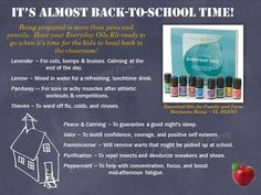 Young Living Essential Oils ~ Everyday Oils Kit ~  Back to School. For more info or to order www.EssentialOilsEnhanceHealth.com