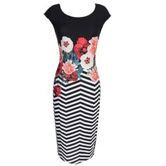 19.06$  Buy here  - New Fashion Women Floral Striped Midi Dress Round Neck Short Sleeve Bandage Dress Black
