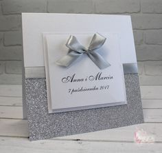 Silver glitter wedding invitaions with ribbon bow for spring or fall weddings. Craft Wedding, Fall Wedding, Glitter Wedding, Silver Glitter, Shagun Envelopes, Acrylic Wedding Invitations, Wedding Cards Handmade, Invitation Envelopes, Wedding Preparation