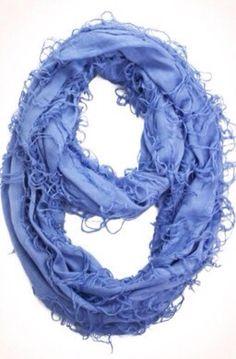 d.monaco boutique new arrivals, beautiful blue infinity scarf, fun, soft, trendy, fringe, spring and summer fashion #d.monacoboutique