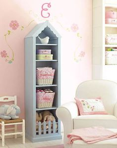 Can embellish a stock bookcase with picket fence and gingerbread trim (michael's or hobby lobby?) and save some major money.