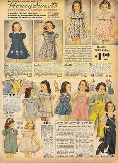 1938 Sears & Roebuck spring and summer 1938 Vintage Kids Fashion, Vintage Children, 1930s Fashion, Classy Fashion, Grunge Fashion, Petite Fashion, French Fashion, Vintage Girls Dresses, Vintage Outfits