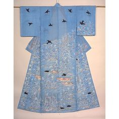 Katabira (Summer Kimono) with Imperial Cormorant Fishing Scene in Dyeing and Embroidery on Light Blue Ramie Ground, Edo Period, 18th c.  Kyoto National Museum