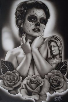 Serenity by Big Ceeze Sexy Tattooed Woman Canvas Art Giclee Print – moodswingsonthenet Cholo Art, Chicano Art, Chicano Drawings, Thrasher, Tattoo Studio, Photo Canvas, Canvas Art, Los Muertos Tattoo, Arte Lowrider