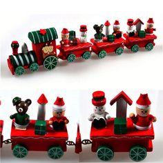 Adorável charme 4 peça de trem de madeira ornamento decoração Decor em Decoração de natal de Casa & jardim no AliExpress.com | Alibaba Group