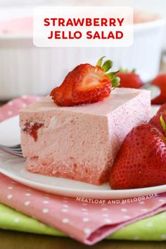 Easy Strawberry Jello Fruit Salad is a retro side dish recipe made with Jello and Cool Whip that's perfect for spring and summer holidays, parties and potlucks.  You'll love this foamy pink treat!