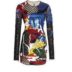 Balmain Short Embroidered Dress ($9,795) ❤ liked on Polyvore featuring dresses, multi, lattice dress, short length dresses, embroidery dress, sequin dress and embroidered dress