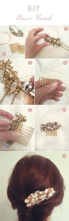 DIY- making a hair comb from a necklace