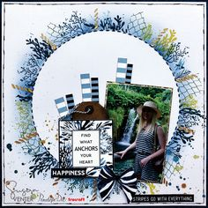 It is possible to create a beautiful layout with only a few scraps of left-over paper. Susan Venter created this single layout with left-over pieces from the breathtakingly beautiful Nautilus collection. Life Moments, Nautilus, Blue Sapphire, How To Memorize Things, Stripes, In This Moment, Abstract, A4, Floral