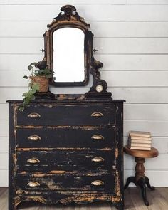 Antique Chippy Black Dresser and Mirror #paintedfurniture #Shabbychicdressers