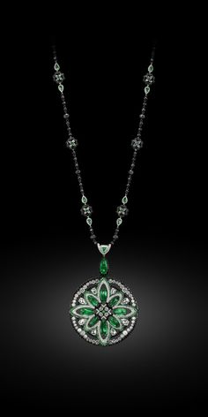 Emerald, White Diamond and Black Diamond Pendant/Necklace – Carnet by Michelle Ong