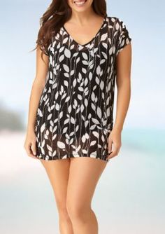 Anne Cole Signature BlackWhite Plus Size Vines V-Neck Tunic Swim Cover Up