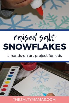 Create snowflakes with this winter process art project featuring Raised Salt Painting. With simple materials and great results, this snowflake art project will be one kids want to repeat again and again. Get the instructions at Winter Art Projects, Toddler Art Projects, Cool Art Projects, Winter Crafts For Kids, Toddler Crafts, Projects For Kids, Art For Kids, Winter Project, Preschool Winter