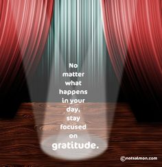 No matter what happens in a day focus on gratitude~ Karen Salmansohn #gratitude #quote