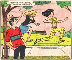 """Why are you chasing Veronica?"""" """"The Obstacle"""" in Archie's Girls Betty and Veronica December art by Dan DeCarlo"""