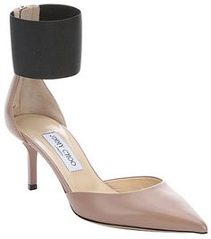 Jimmy Choo ballet pink and black leather 'Trinny 65' ankle cuff pumps