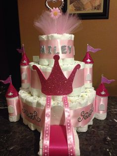 Just made this castle diaper cake for a new client! These are becoming very popular.