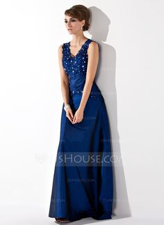 A-Line/Princess V-neck Floor-Length Lace Beading Sequins Zipper Up Regular Straps Sleeveless Yes 2013 Other Colors Spring Fall Winter General Plus Taffeta Mother of the Bride Dress
