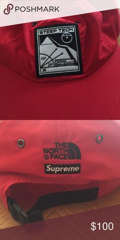 62f392b407a Supreme X Northface Steeptech Hat. Red supreme X Northface Steeptech hat.  Perfect condition.