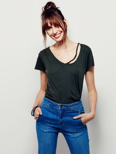 LNA Fallon Tee | Perfectly worn in short sleeve tee featuring a V-neckline with distressing details. Pair with your favorite pair of jeans and add a leather jacket for that laidback, effortless look. American made.