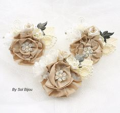 Boutonnieres Corsages Ivory Cream Champagne Button by SolBijou