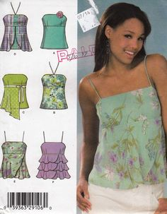 """Chic Summer Halter Tops or Camisoles  -  Spaghetti Straps or Strapless  - Size 4-10 Bust 29.5-32.5"""" - UNCUT- Sewing Pattern Simplicity 4587 by Sutlerssundries on Etsy"""